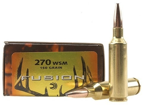 Federal Fusion Ammunition 270 Winchester Short Magnum (WSM) 150 Grain Bonded Spitzer Bo...