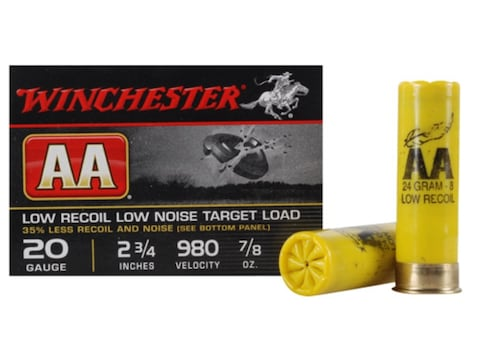 "Winchester AA Featherlite Target Ammunition 20 Gauge 2-3/4"" 7/8 oz #8 Shot"