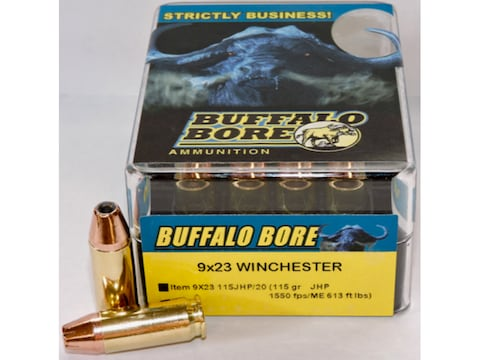 Buffalo Bore Ammunition 9x23mm Winchester 115 Grain Jacketed Hollow Point Box of 20