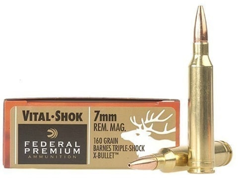 Federal Factory Second Vital-Shok Ammunition 7mm Remington Magnum 160 Grain Barnes TSX ...