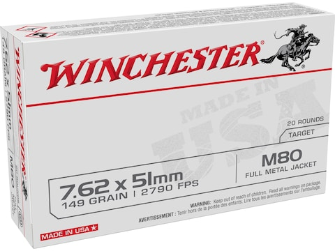 Winchester USA Ammunition 7.62x51mm NATO 149 Grain M80 Full Metal Jacket