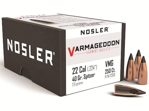 Nosler Varmageddon Bullets 22 Caliber (224 Diameter) 40 Grain Tipped Flat Base