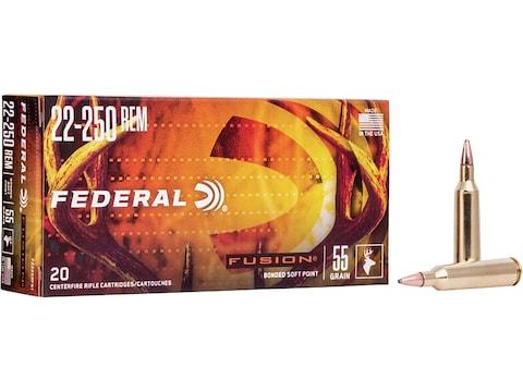 Federal Fusion Ammunition 22-250 Remington 55 Grain Bonded Spitzer Boat Tail