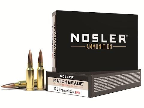 Nosler Match Grade Ammunition 6.5 Grendel 123 Grain Custom Competition Hollow Point Boa...