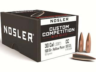 Nosler Custom Competition Bullets 30 Caliber (308 Diameter) 168 Grain Hollow Point Boat Tail Box of 100