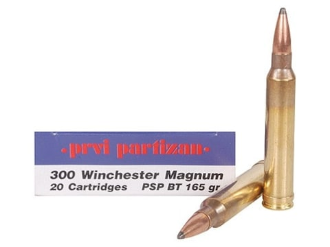 Prvi Partizan Ammunition 300 Winchester Magnum 165 Grain Pointed Soft Point Boat Tail B...