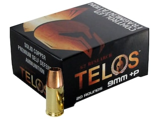 G2 Research Telos Ammunition 9mm Luger +P 92 Grain Controlled Fragmenting Hollow Point Solid Copper Lead-Free Box of 20