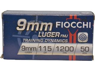 Fiocchi Range Dynamics Ammunition 9mm Luger 115 Grain Full Metal Jacket Box of 50