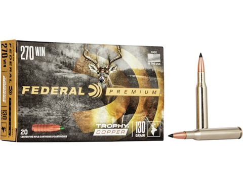 Federal Factory Second Ammunition 270 Winchester 130 Grain Trophy Copper Tipped Boat Ta...