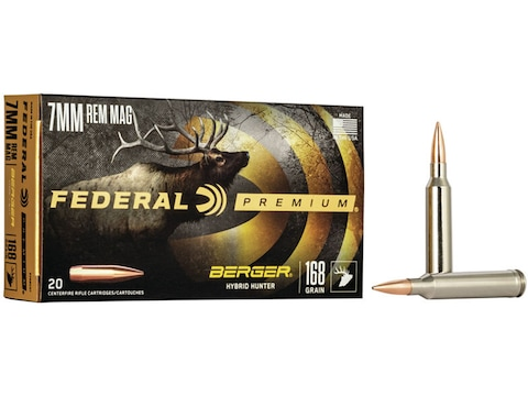 Federal Premium Ammunition 7mm Remington Magnum 168 Grain Berger Hybrid Hunter Box of 20