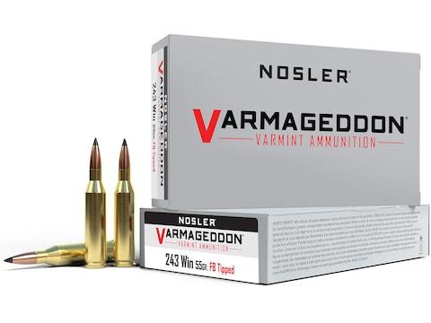 Nosler Varmageddon Ammunition 243 Winchester 55 Grain Polymer Tip Flat Base Box of 20