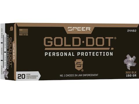 Speer Gold Dot Ammunition 300 AAC Blackout 150 Grain Gold Dot Bonded Soft Point Box of 20