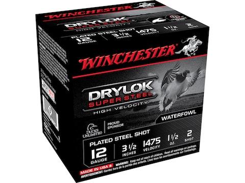 "Winchester Drylok High Velocity Plated Ammunition 12 Gauge 3-1/2"" 1-1/2 oz Non-Toxic Steel"