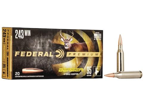 Federal Premium Ammunition 243 Winchester 95 Grain Berger Hybrid Hunter Box of 20