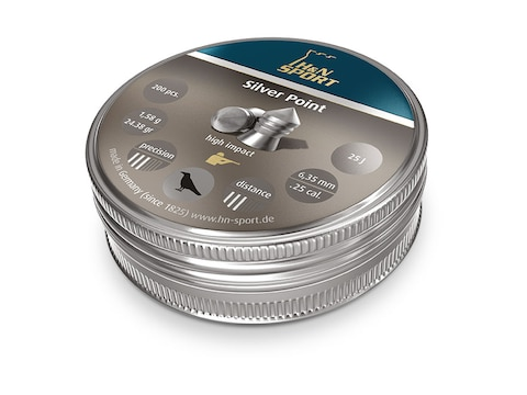 H&N Silver Point Pellets 25 Caliber 24.38 Grain 6.35mm Head-Size Pointed Tin of 150