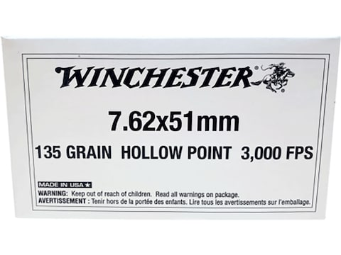 Winchester Ammunition 7.62x51mm NATO 135 Grain Hollow Point
