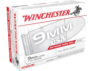 Winchester USA Range Pack Ammunition 9mm Luger 115 Grain Full Metal Jacket Case of 1000 (5 Boxes of 200)