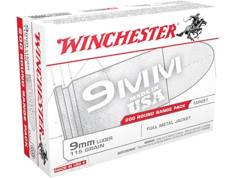 Winchester USA Range Pack Ammunition 9mm Luger 115 Grain Full Metal Jacket