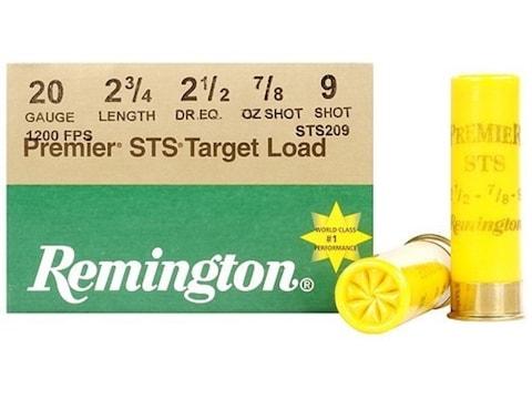 "Remington Premier STS Target Ammunition 20 Gauge 2-3/4"" 7/8 oz #9 Shot Box of 25"