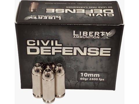 Liberty Civil Defense Ammunition 10mm Auto 60 Grain Fragmenting Hollow Point Lead-Free ...