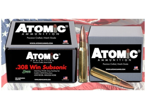 Atomic Match Ammunition 308 Winchester Subsonic 175 Grain Sierra MatchKing Hollow Point...