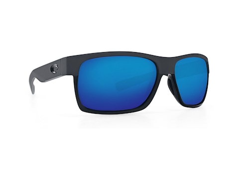 Costa Del Mar Half Moon Polarized Sunglasses Shiny Black/Matte Black Frame/Blue Mirror ...