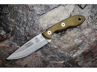 "TOPS Knives Scandi Trekker Fixed Blade Knife 3.63"" Hunters Point 1095 High Carbon Alloy Blade Canvas Micarta Handle Green"