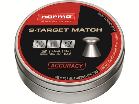 Norma S-Target Match Air Gun Pellets 177 Caliber 8.2 Grain Flat Nose Tin of 300
