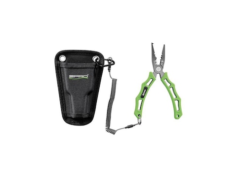 "SPRO 6"" Fishing Pliers with Lanyard & Sheath Stainless Steel Non-Slip Handle Green"