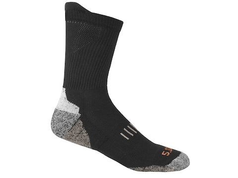 5.11 Men's Year Round Crew Socks Cotton Black 1 Pair