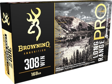 Browning Long Range Pro Match Ammunition 308 Winchester 168 Grain Sierra MatchKing Holl...