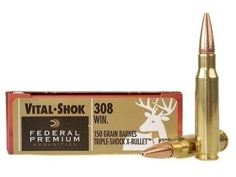 Federal Premium Ammunition 308 Winchester 150 Grain Barnes TSX Hollow Point Lead-Free B...