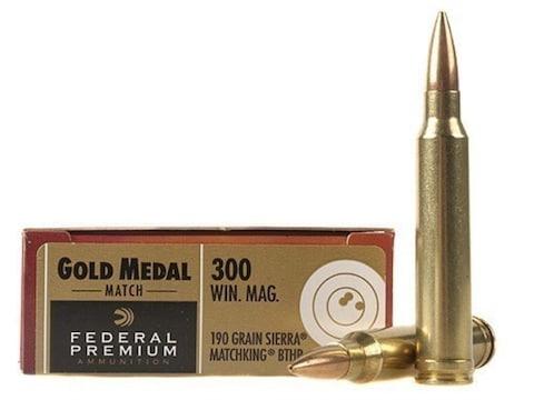 Federal Factory Second Gold Medal Ammunition 300 Winchester Magnum 190 Grain Sierra Mat...