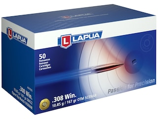 Lapua Scenar Ammunition 308 Winchester 167 Grain Hollow Point Boat Tail Box of 50