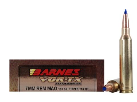 Barnes VOR-TX Ammunition 7mm Remington Magnum 150 Grain TTSX Polymer Tipped Spitzer Boa...