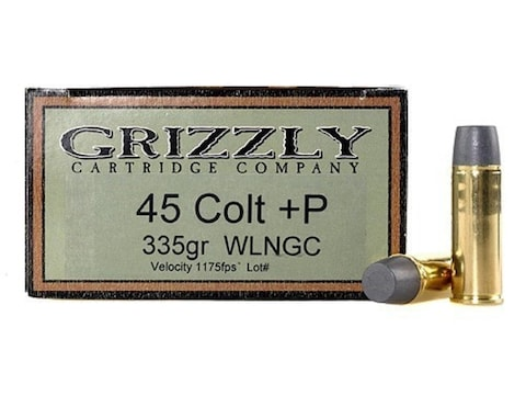 Grizzly Ammunition 45 Colt (Long Colt) +P 335 Grain Cast Performance Lead Wide Flat Nos...