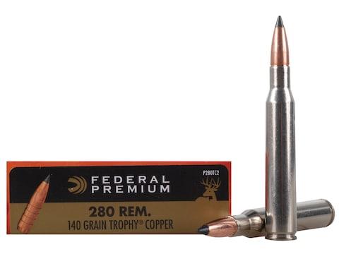 Federal Premium Ammunition 280 Remington 140 Grain Trophy Copper Tipped Boat Tail Lead-...