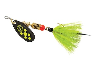 Mepps Aglia Black Fury Dressed Inline Spinner 1/6oz Gray & Chartreuse Tail Chartreuse Dot Blade