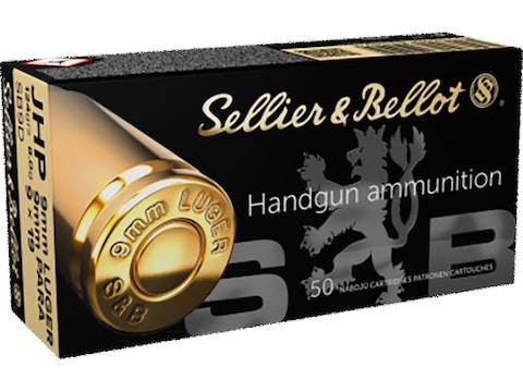 Sellier & Bellot Ammunition 9mm Luger 124 Grain Jacketed Hollow Point