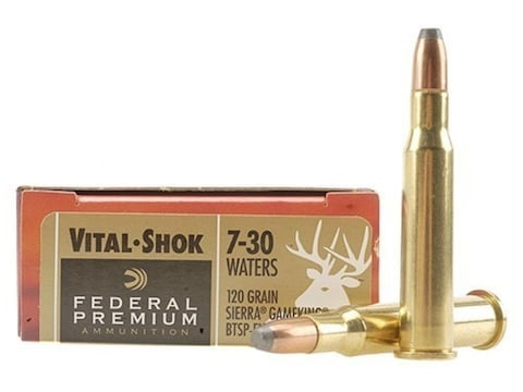 Federal Factory Second Ammunition 7-30 Waters 120 Grain Sierra GameKing Soft Point Boat...