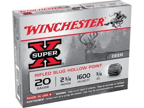 "Winchester Super-X Ammunition 20 Gauge 2-3/4"" 3/4 oz Rifled Slug"