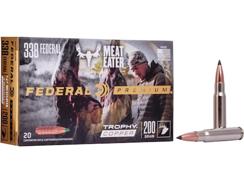 Federal Premium Ammunition 338 Federal 200 Grain Trophy Copper Tipped Boat Tail Lead-Free