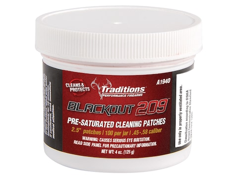 """Traditions Blackout 209 Black Powder Cleaning Patches 45-58 Caliber 2.5"""" Jar of 100"""