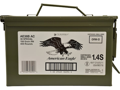 Federal American Eagle Ammunition 38 Special 158 Grain Lead Round Nose Ammo Can of 400