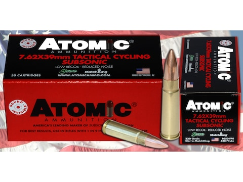 Atomic Tactical Cycling Subsonic Ammunition 7.62x39mm 220 Grain Hollow Point Boat Tail ...