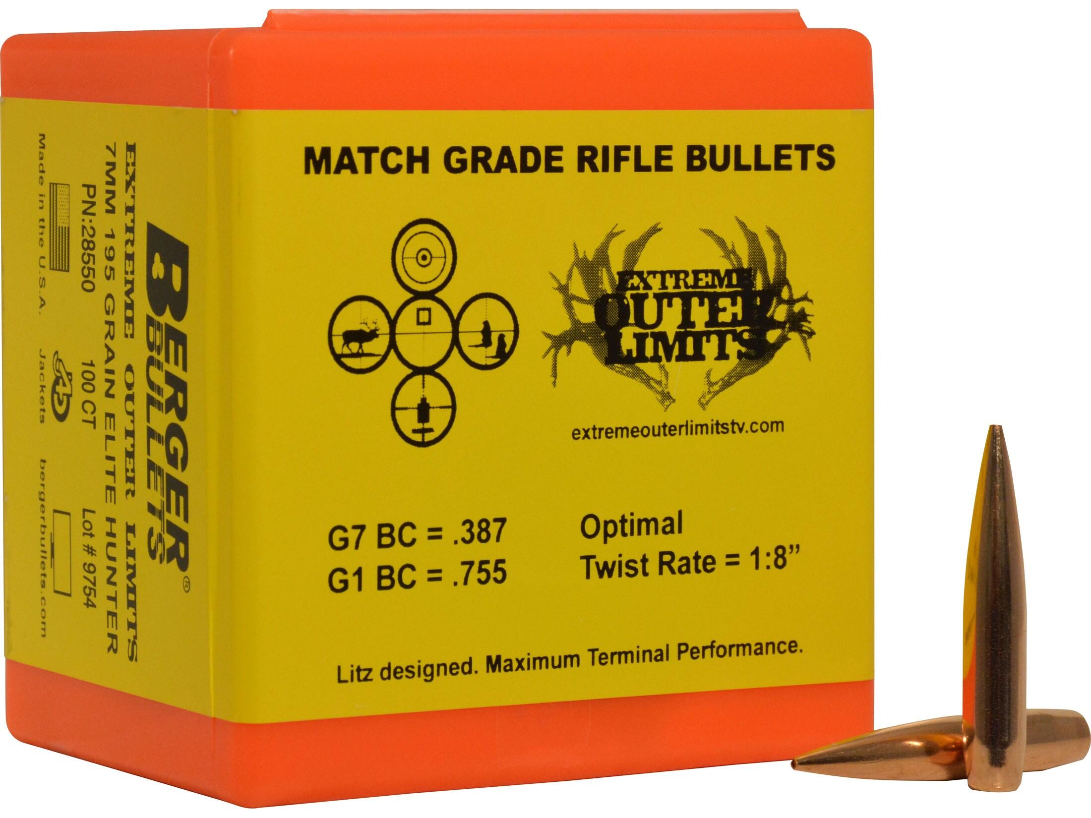 Berger Elite Hunter Hunting Bullets 284 Cal 7mm (284 Diameter) 195