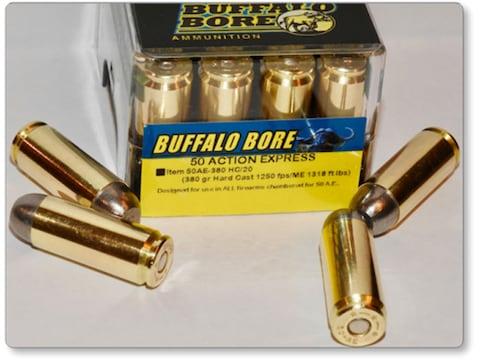 Buffalo Bore Ammunition 50 Action Express 380 Grain Hard Cast Lead Flat Nose Box of 20