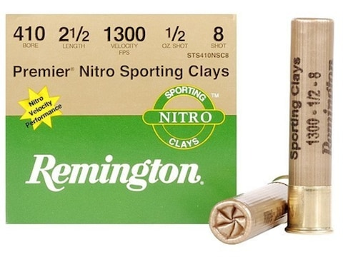 "Remington Premier Nitro Gold Sporting Clays Ammunition 410 Bore 2-1/2"" 1/2 oz #8 Shot B..."