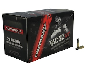 Norma TAC-22 Ammunition 22 Long Rifle 40 Grain Lead Round Nose Box of 50