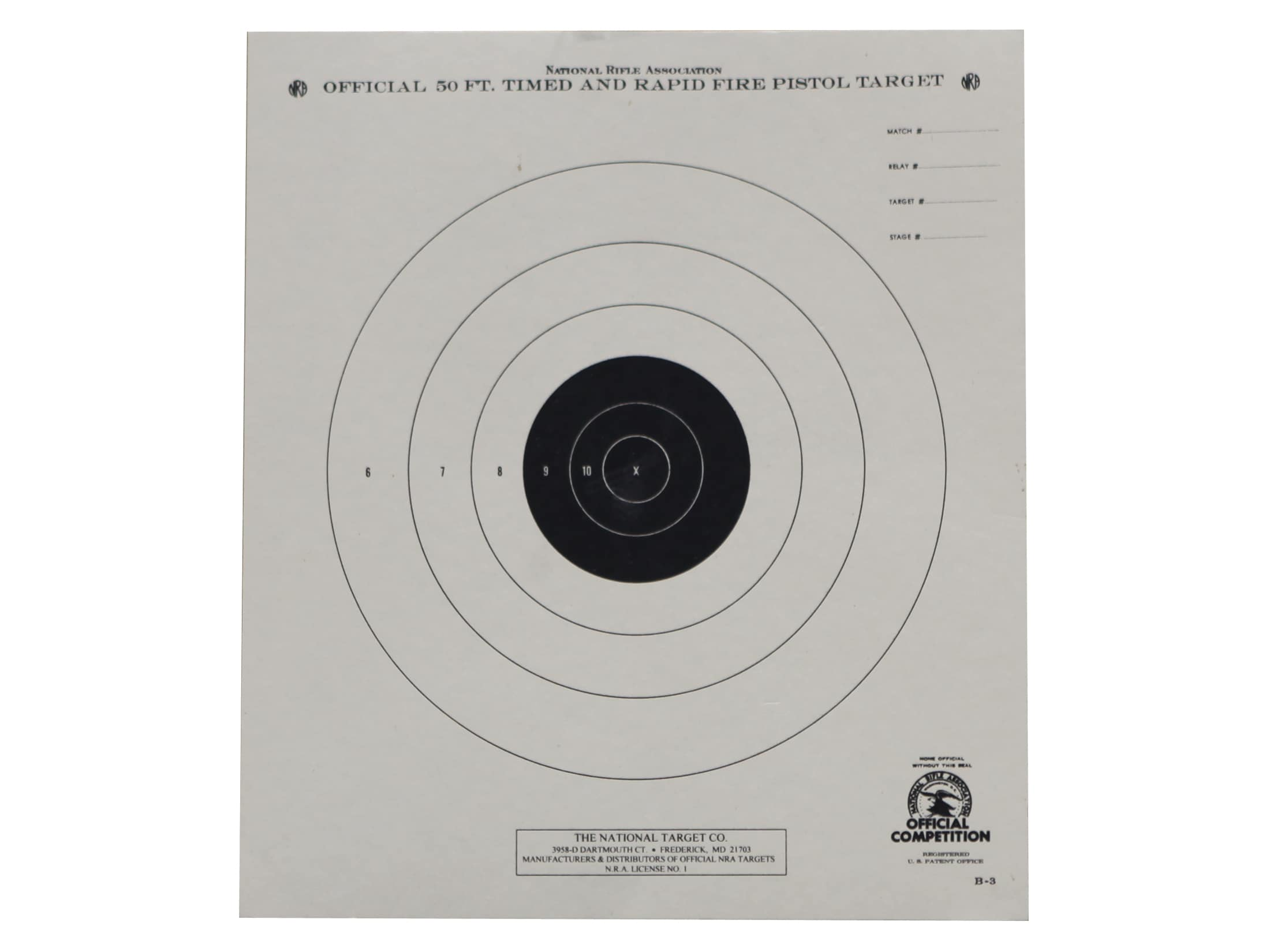 NRA Official Pistol Targets B-3 50' Timed Rapid Fire Paper Package of